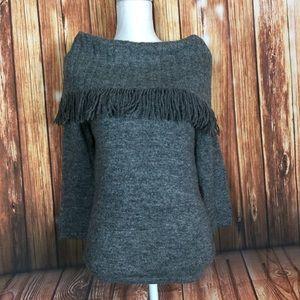 Marisa Christina Foldover Fringe WoolBlend Sweater